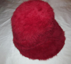Vintage 50and039s J L Hudson Angora Fuschia Pink Red Bucket Cloche Hat Italy