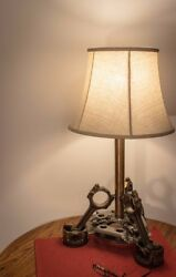 Automotive Inspired Industrial Table Lamp Made From Pistons And Other Car Parts