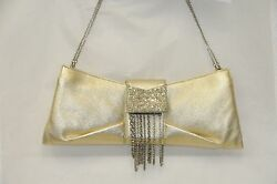 $2995 JUDITH LEIBER Leather Gold Cystals Clutch Bag Jeweled Chain EVENING Bag