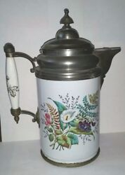 Rare Graniteware Coffee Pot W Calla Lily Flowers Pewter Trim And Hinged Spout