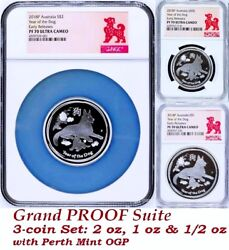 Rare 2018 P Australia Proof Silver 3-coin Set Lunar Year Of The Dog Ngc Pf 70 Er