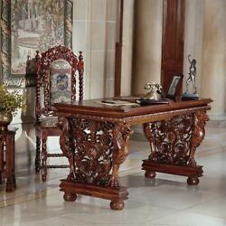 Antique Replica Hand Carved 30.5 Solid Hardwood Gryphon Library Table