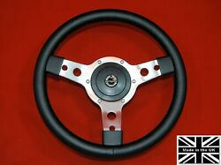 14 Classic Leather Steering Wheel And Hub. Fits Triumph Tr4-5-6
