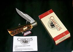 Camillus 7 Cam-lok Knife Usa Sword Brand Indian Stag Handles W/package,papers