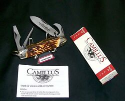 Camillus 97 Sword Brand Knife Usa Indian Stag Camper 1970's W/packaging And Papers