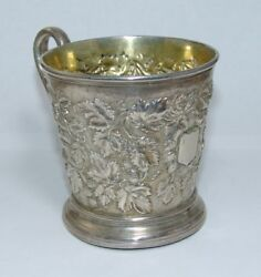 Antique Sterling Silver Christening Mug By John And Roskell Victorian Uk England