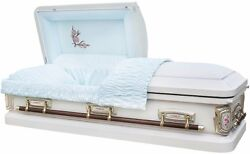 Brand New 18 Gauge Steel Coffin Casket - Antique White Shaded Silver Rose Finish
