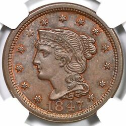 1847 N-13 R-4 Ngc Ms 66 Bn Braided Hair Large Cent Coin 1c