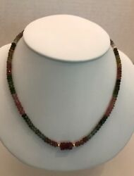 MULTI-COLOR FACETED TOURMALINE NECKLACE WITH CARVED RED TOURMALINE BEAD -14K