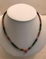 FACETED MULTI-COLOR TOURMALINE NECKLACE WITH PINK SOUTH SEA PEARL - 14K GOLD