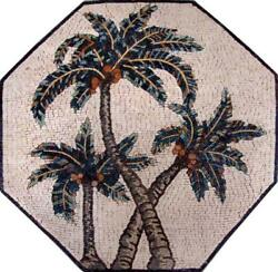 Octagonal Marble Mosaic - Palm Trees Mosaic Flowers And Trees Mosaic Tile
