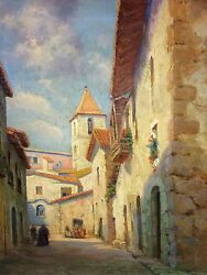 RURAL VILLAGE STREET. OIL ON CANVAS. CATALAN SCHOOL. SPAIN. XIX-XXTH