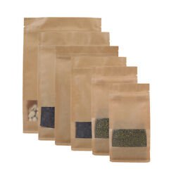 Brown Kraft Stand Up Zip Seal Bags W/clear Window Side Gusset Multiple Qty Sizes