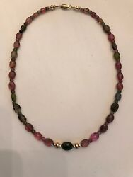 FACETED OVAL MULTI-COLORED 18 INCH TOURMALINE BEAD NECKLACE WITH 14K GOLD BEADS