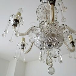 Antique Bohemian 1920and039s Crystal Chandelier Six Arm Light French Venetian Vintage