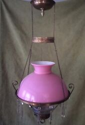 Antique Victorian Hanging Oil/kerosene Lamp W/ Pink Cased Shade And Glass Font