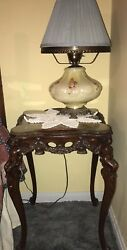 Rare 1920s French Marquetry Burled Inlay 3pc Table Set W/cherubs And Glass Tops