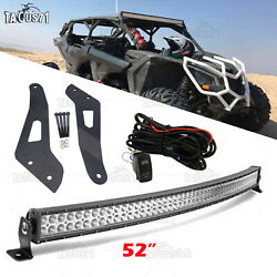 Fit Can-am Maverick X3 Ds Rs Max Curved 52 Led Light Bar Upper Roof Brackets
