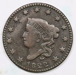 1822 Matron Or Coronet Head Large Cent Coin 1c