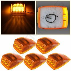 4.5and039and039 Amber 17led Reflector Roof Running Top Clearance Lights For Kenworth Qty-5