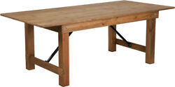 7and039 X 40and039and039 Antique Rustic Wood Design Folding Dining Table With Solid Pine Top