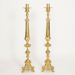 Pair Of Traditional Brass Altar Candlesticks 44 Ht. 200 Church Chalice Co.