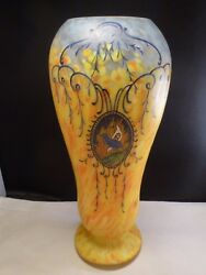 Large Art Glass Legras Vase Yellow And White With Blue Birds Signed 1910 14