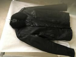 Nwt Black Label Made In Italy Shearling Fur Leather Utility Jacket