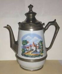 Antique Graniteware Enameled Coffee Pot W Pewter Spout, Bands, Handles And Top