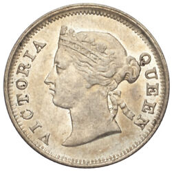 1884 Straits Settlements Silver 5 Cents Graded By Ngc As Au55