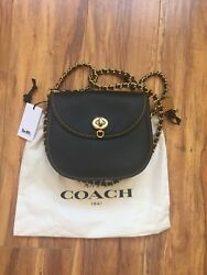 100% authentic Coach 1941 Leather Turn-Lock Saddle Bag in Black Style 59241New