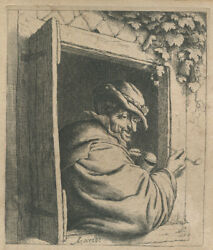 1650 Etching By Adriaen Van Ostade The Smoker At The Window