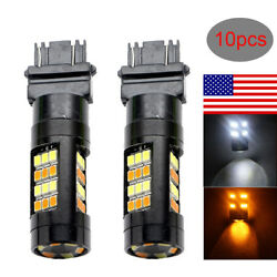 10x Switchback Dual color white amber T25 3157 2835 42SMD LED Turn Signal Light
