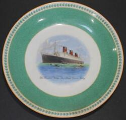 Cunard White Star Line Rms Queen Mary Maiden Voyage V Rare Minton Plate C-1936