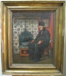 LISTED FAMOUS RUSSIA RARE VLADIMIR MAKOVSKY MAN IN RURAL INTERIOR OIL PAINTING