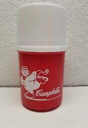 Alladinware Campbelland039s Soup Thermos Red W/white Lid Ice Skating Snowman 7