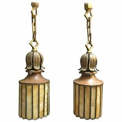 Pair Of Exceptional Arts And Crafts Stain Glass Brass Pendant Lights