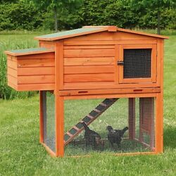Backyard Wooden Chicken Coop Nesting Box Cage Run Enclosure Two Story Outdoor