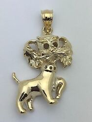 14k Yellow Gold Solid Yorkshire Terrier Maltese Dog Puppy Charm Pendant 8.2g
