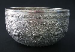 Antique Silver Sterling Asian Siam Engraved Dragon Monkey Repousse Bowl 19c