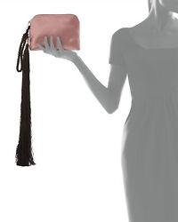 $1850 New THE ROW Wristlet Silk Satin Tassel Detail Pink Clutch Evenin Bag Purse