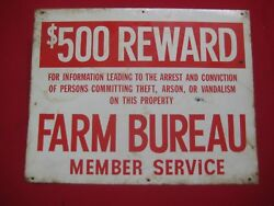 Vintage Farm Bureau Member Service Sign Red And White Graphics