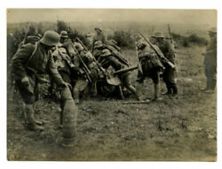 Rare Wwi Ww1 Era Cannon On Battle Soldiers M16 Helmet Real Photo
