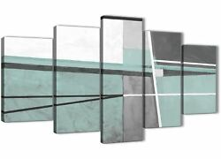 5 Piece Duck Egg Blue Grey Painting Abstract Dining Room Canvas - 5396 - 160cm
