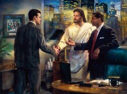 Nathan Greene THE SENIOR PARTNER 30x40 SN Canvas Giclee Jesus with Businessman