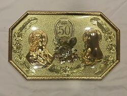 50th Anniversary Vintage Metal Wall Plaque Sign Blessed Mary And Jesus