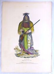 Wa-na-ta Sioux Grand Chief. Folio Lithograph. Mckenney And Hall. Charles King.1836
