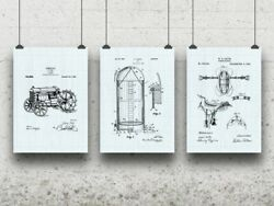 Farming Posters Set Of 3 Farmer Gift Tractor Blueprint Agriculture Rustic Ranch