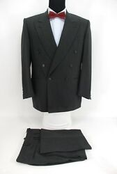 Canali Italy Double Breasted Menandrsquos Suit Charcoal Gray Black Stripe Wool 40r