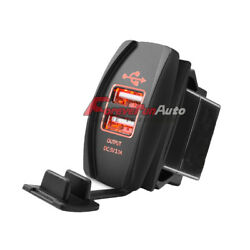 Universal Dual Usb Power Charger Red Led Light Rocker Switch Panel For Car/boat